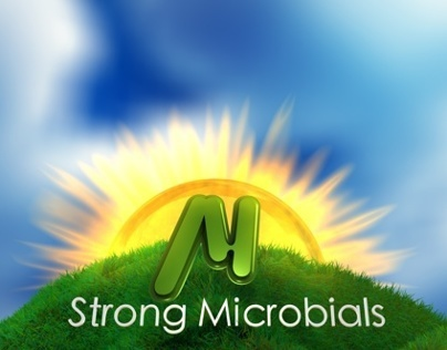 Strong Microbials brochure 3D graphic components
