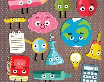 Cute school characters