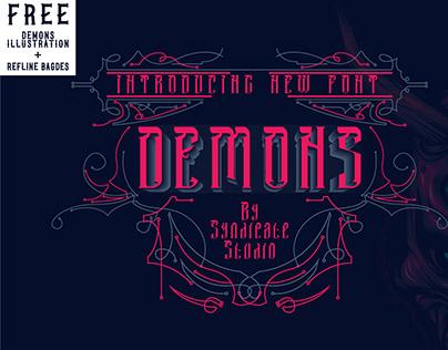 DEMONS Font FREE Devil Illustration and Refline Badges