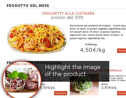 Website template for italian food e-shop