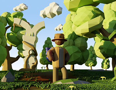 Low Poly Adventure - 3D Illustration