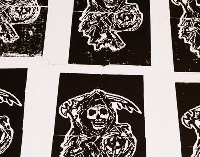 Sons of Anarchy Linoleum Block Prints