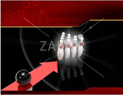 Power Point Presentation Template Design Bowling Game