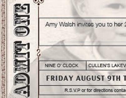 Retro style ticket - 21st Birthday Invitation