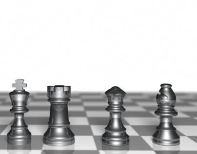 Chromed Chess Pieces 3D-Model