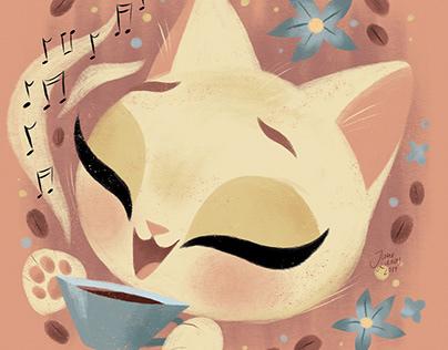 Cute Coffee Cat