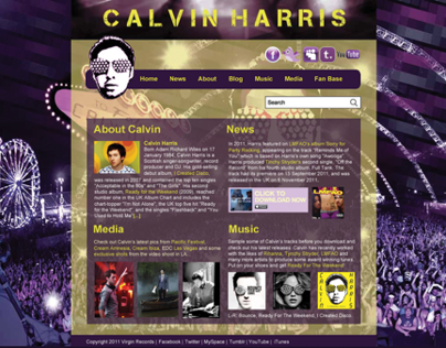 Calvin Harris Website Design