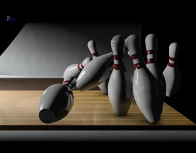 Bowling Ball Close Up Hitting Pins