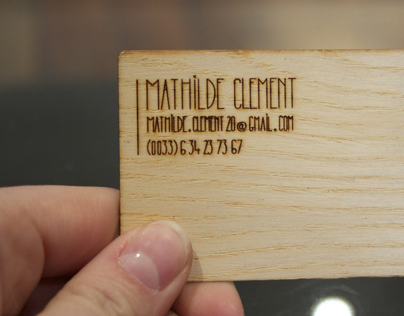 My wood business card