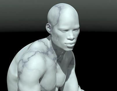 Escultura en marmol blanco