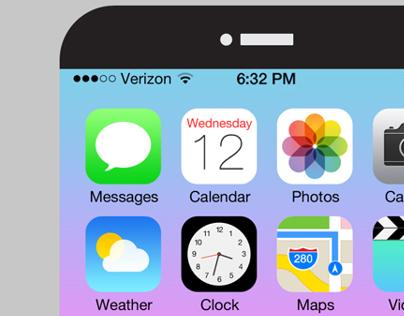 FREE Awesome iPhone6 & iOS7 GUIKit PSD
