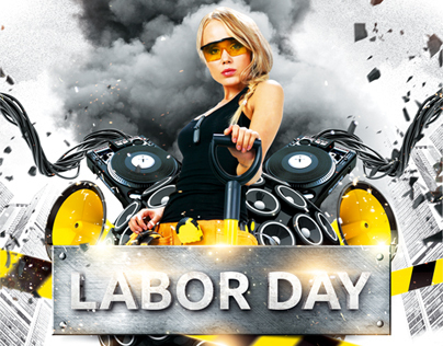Labor Day Party Flyer, PSD Template