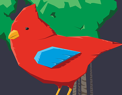 Cardinal in lo-poly