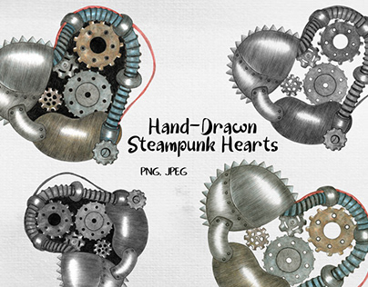 Hand-drawn Steampunk Heart PNG