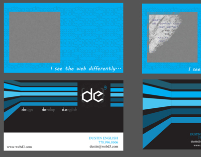DE3 Business Card: Dustin English, Design, Develop.