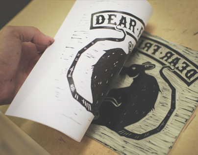 Linocut prints for Dear Friends Clothing