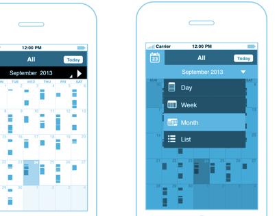 Calendar/ Timetable -Mobile Wireframe