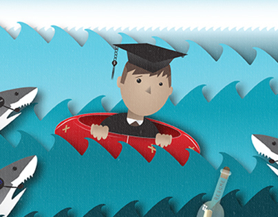 Editorial Illustration on Student Loans