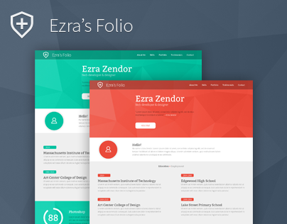 Ezra's Folio - Clean Bootstrap Resume PSD Template