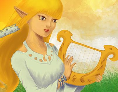 Zelda/Hylia ~ Sketch + Digital Painting