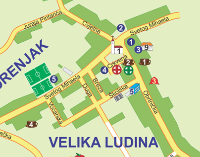 Tourist map of Velika Ludina (Croatia)