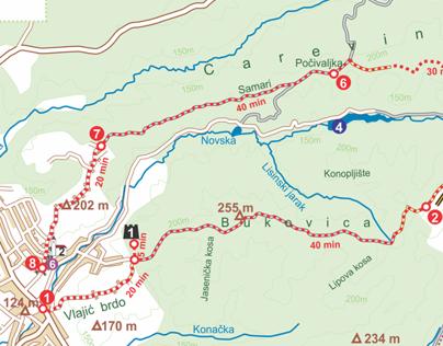 Hiking map of Novska Mountain (Croatia)