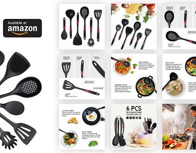 6 Pcs Silicone Kitchen Cooking Utensil Set