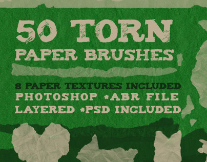 50 Torn Paper Brushes + 8 Paper Textures