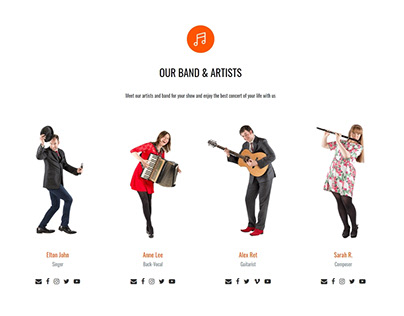 Music WordPress Theme - Home Team