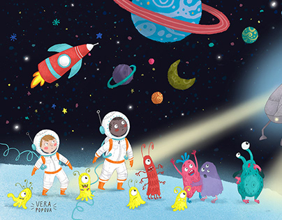 Children's book about space and monsters