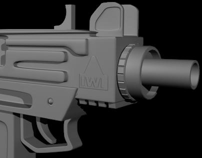 3D model of automatic pistol