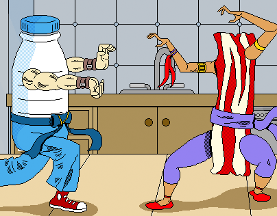MilkPEP: Protein Fight Club Pixel Illustration