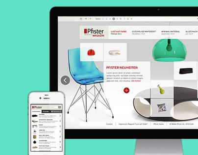 Pfister: online magazine and e-commerce retrofitting