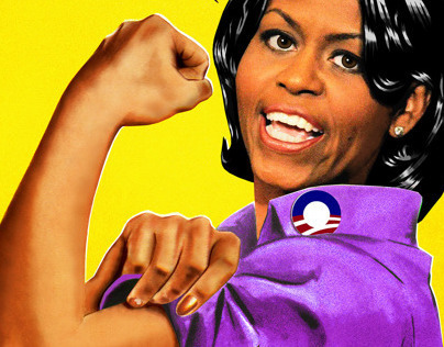 """""""Recovery.gov"""" Michelle Obama as rosie the Riveter."""