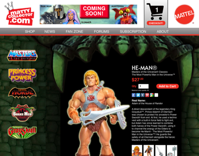 Masters of the Universe Classics Website Redesign