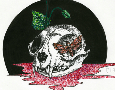 Skulls in pointillism techniques