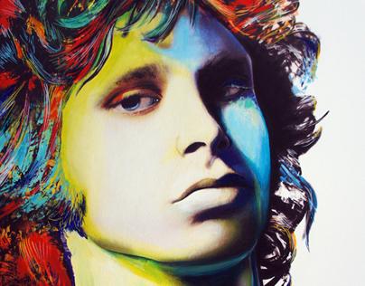 """ Jim Morrison""- mixed media on canvas"