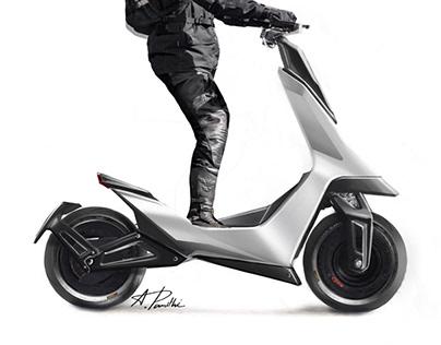 Sporty kick board scooter
