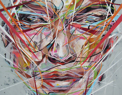 Heavily abstracted and stylized figures andportraits