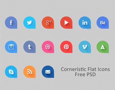 Corneristic Flat Icons [ PSD Freebie ]