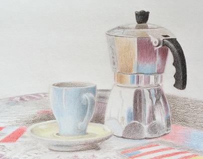 Colored pencil drawing Espresso