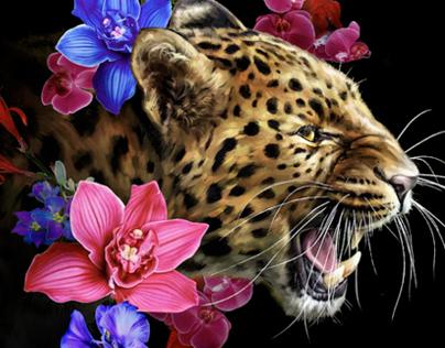 Leopard Painting | printed tee design