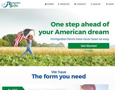 """Immigration selfie"" Landing and logo"