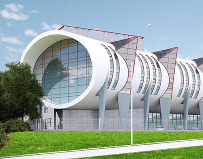 Business center with car showroom