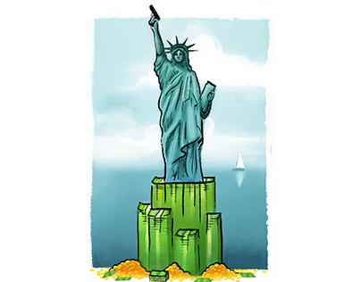 Lady Liberty Editorial Illustration
