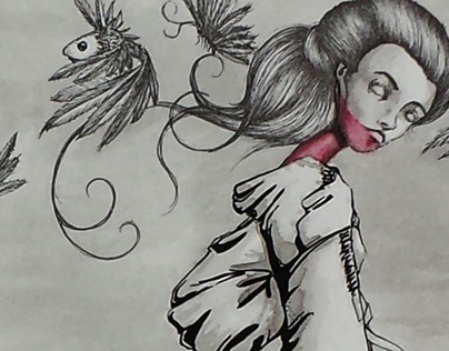 Ink and watercolor work