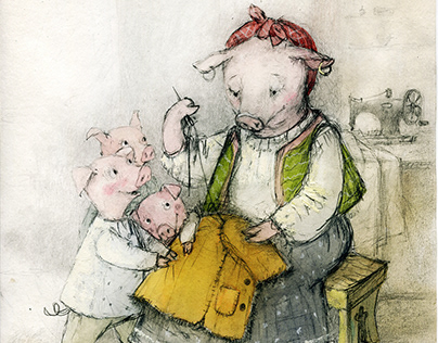 "illustration for""Three Little Pigs"""