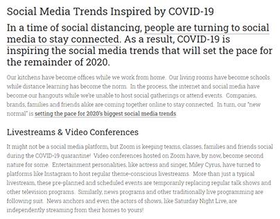 COVID-19-Inspired Social Media Trends