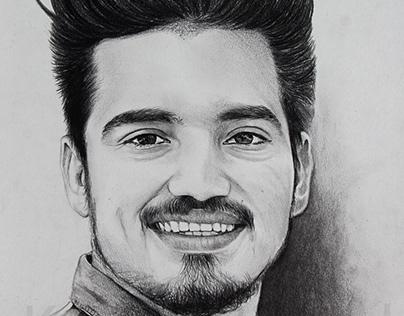 A Handsome boy - Pencil Sketch by Artist Kamal Nishad