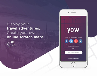 UX/UI. YOW App. Online Scratch Map.